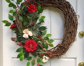 Red + Beige + Crimson | Spring Wreath | Summer Wreath | Grapevine Wreath | Greenery Wreath |  Front Door Wreath