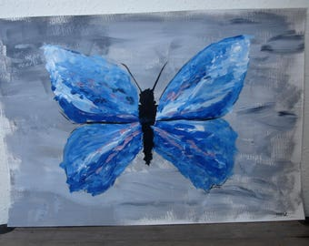 """Acrylic Painting on Paper - """"Blue Butterfly"""""""