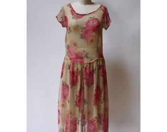 Vintage Silk 1920s Rose Garden Dress