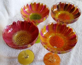 Margarita glasses Hand Painted Flower design set of four
