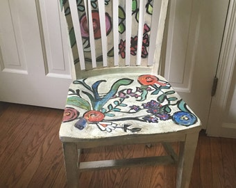 Impressionist Floral Hand Painted Chair
