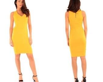 Yellow scuba, plunge v-neck bodycon silhouette dress, new