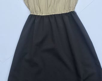 Vintage 80s Lillian Russell cream and black dress with pinstripes. Plus size/ size 18