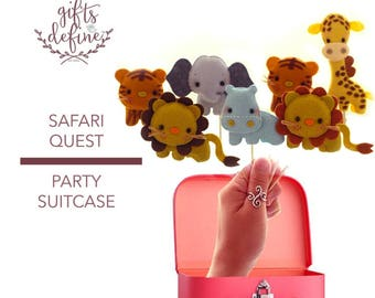 Free US Ship Set of 5 Safari Quest Pets in Party Suitcase, Custom Reusable Cake Topper or Party Favor, Decor for Baby Shower, Birthday Party