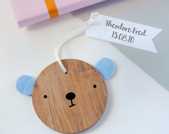 New Baby Personalised Bear Keepsake - New Baby Wooden Keepsake - Christening Gift - Wooden Bear Decoration