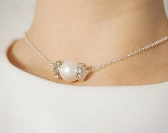 Bridesmaid Gift Wedding Jewelry Wedding Necklace Bridal Necklace Bridal Jewelry Pearl Necklace Pearl Jewelry Gift Crystal Necklace