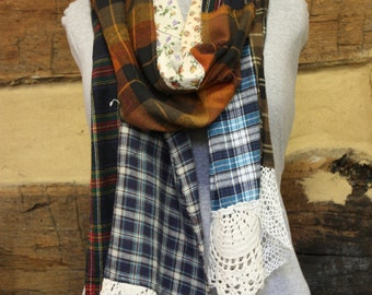 Patchwork Flannel Scarf Boho Chic Tattered Upcycled Scarf Neck Wrap Hippie Clothing Fall Winter Fashion Scarves
