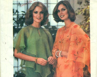 "Butterick 5341 Butterfly Sleeves Blouse Attached Capelet Size Small 8, 10 Bust 31 1/2 - 32 1/2"" VINTAGE 1970s"