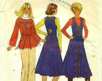 Simplicity 7720 Gored Skirt, Trimmed Vest & Top Vintage 1970s ©1976