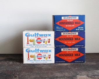 Vintage Gulfwax and Diamond Paraffin Wax - 5 Pounds