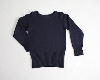 50s all wool sweater | navy blue wool sweater | heavy wool sweater