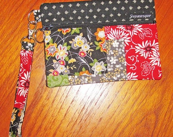 Wrist Strap Zippered Pouch Floral Patchwork Look Design Japanese Asian Fabric Black