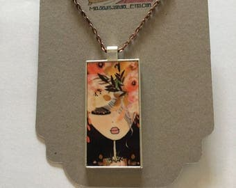 Necklace - Bloom- The girl with flowers in her hair