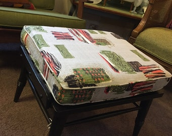 MIDCENTURY OTTOMAN Footstool c1950s Painted Wood Frame New Loose Cushion Using Vintage Barkcloth Black Grey Green Red Orange Vintage Retro