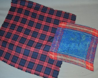 Victorian Small Wool Shawl and Silk Scarf, Red & Blue Plaid, Vintage Antique 1800s