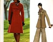 Vogue 2925 Couturier Design Fabiani Double Breasted Coat Jacket Wide Leg Pants Size 16 Bust 38 Uncut Vintage Sewing Pattern 1973