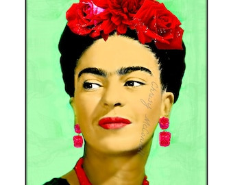 Frida Kahlo Roses Modern Photomontage Poster Print Instant Digital Download Mixed Media Collage Black Greenery Red Pink Small to Poster Size