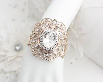 Rose Gold Cuff Bracelet Wide Cuff Crystal Wedding Cuff Bracelet Diamonte Cuff Bracelet Bridal Crystal Bracelet   ARLA CUFF BRACELET