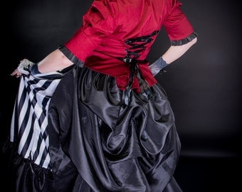 "Steampunk Bustle - Detachable Back - Burlesque Mardi Gras Tuck up Taffeta - Petite to Plus size - ""Regal Bustle"" Custom to order XS-5XL"