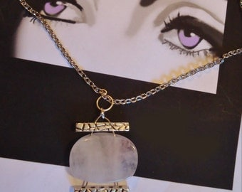 Pastel Rose Quartz and silver pendant with chain