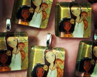 Pre- Order - Mother with Two Girls  - Mother - Daughters - Original Small Glass Tile Pendant  by FLOR LARIOS ART