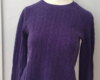 Vintage Cashmere Sweater, Womens Ralph Lauren Eggplant Wide Crew Neck Cashmere Pullover Sweater Size S Small, Dark Purple Cashmere Sweater
