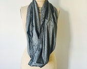 sale Silk Infinity Scarf, Pewter Silver Gray Cowl Scarves , Accessories