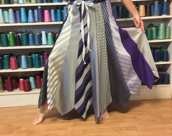 Long Silk Skirt/Upcycled Clothes/Recycled Mens Neckties/Repurposed Clothing Made from Ties/Purple and Silver/Womens Size Medium Large Tall