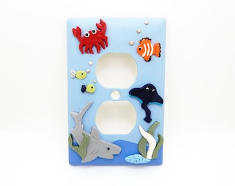 Nautical Themed Light Switch Cover or Outlet Cover - Under the Sea Decor - Nautical  Sea Nursery -  Blue, Gray, Red - Rocker, Toggle