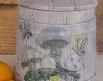 Large Compost Crock ~ Mushrooms and Butterflies Faux Bois