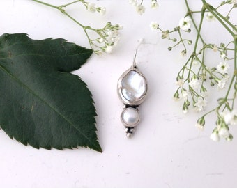 single earring, sterling silver, white pearl earring, ready to ship