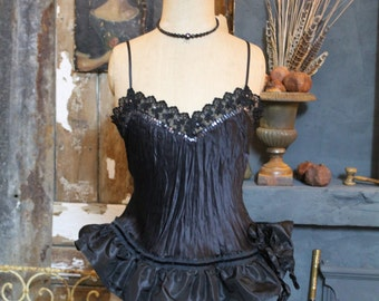 Burlesque Black Silk Camisole Crinoline Chesmise Top Taffeta Frilled Ruffled Black Swan Gothic Romantic Circus Performer Dance Evening Vest