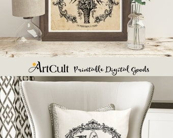 """2 Printable Digital Images """"Le Printemps à PARIS"""", to print on fabric or paper Transfer sheet for tote bags t-shirts pillows ArtCult artwork"""