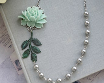 Mint Rose Flower Necklace, Mint Green Silver Plated Wedding, Rose Grey Pearl Necklace Wedding, Mint Wedding, Verdigris Leaf Flower Necklace