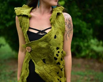 Felt Melted Vest-Felt Gown-Nymph Top-Woodland Costume-Pixie Vest-Tree Costume-Felt Top-Felt Vest-Fairy Costume-Elf Costume-Festival WearOOAK