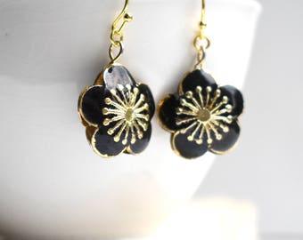 Flower Earrings, Black Flower Earrings, Green Flower Earrings, Bohemian Flowers, Cloisonné Flowers, Boho Jewelry, Black Flowers, Lime Green