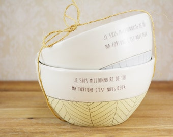 Set of two bowls - ceramic bowl - ceramic set bowl -modern pottery - bowls with sayings - handmade ceramic