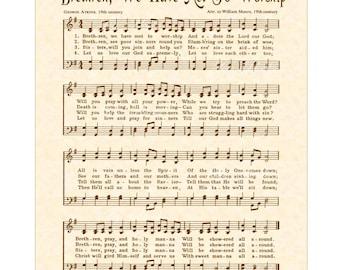 BRETHREN WE HAVE Met To Worship - Hymn Wall Art - Custom Christian Home Decor Vintage Verses Sheet Music Inspirational Wall Art Sepia Brown