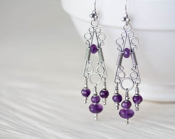Unique statement earrings, Genuine Amethyst Chandelier Earrings, sterling silver filigree with gemstone dangles, artisan jewelry
