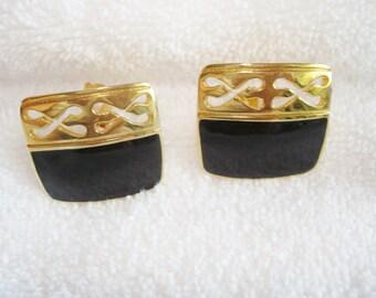 Black Gold Tone  Clip  Earrings