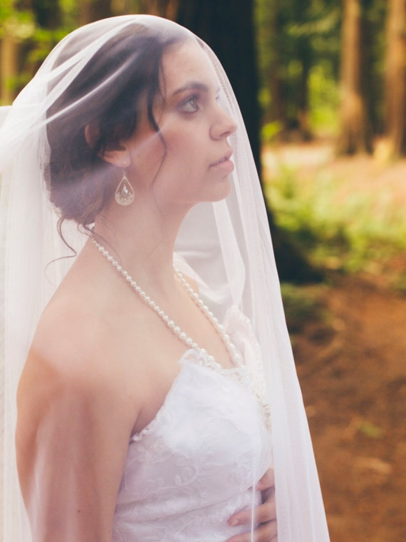 Veil with Blusher, Cathedral Veil, Wedding Veil,Bridal Veil, Blusher Veil, English Net Veil, Two Tier Veil, Elegant Veil, Chapel Veil