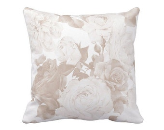 Pillow Cover Taupe Cottage Rose Floral