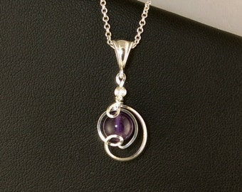 Purple Amethyst Gemstone Drop Pendant Silver Necklace, Unique Wire Wrapped Small Amethyst Chain Necklace, Amethyst Gift For Her