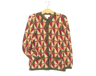 Vintage Sweater * Geometric Cardigan Sweater * Pattern Knit Cardi * Small / Medium