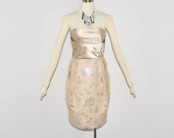 LANVIN Strapless Dress Suit Vintage Silk Metallic Floral Brocade Print Jacket Ensemble - AUTHENTIC -