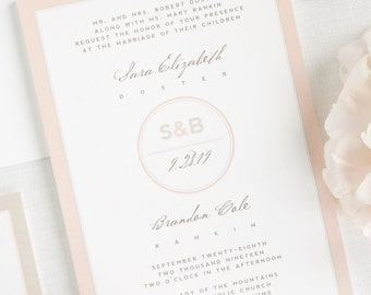 Modern Circle Logo Wedding Invitations - Sample
