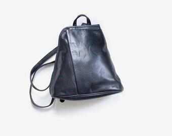 Vintage Leather Backpack / Black Leather Backpack / Structured Backpack