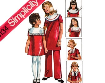 Simplicity 9134 Girls Vintage 70s Smock Dress Detachable Collars & Pants Pattern Size 10 Breast 28 1/2 inches UNCUT Factory Folded
