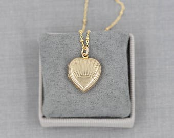 Gold Heart Locket Necklace, 9ct Back and Front Sunray Engraved Vintage Photo Pendant - Sunrise