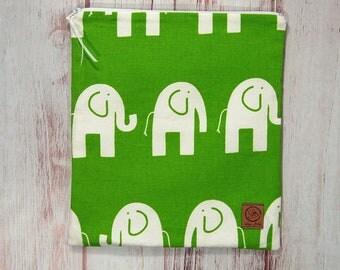 Gallon Size Reusable Bag - Elephants on Green